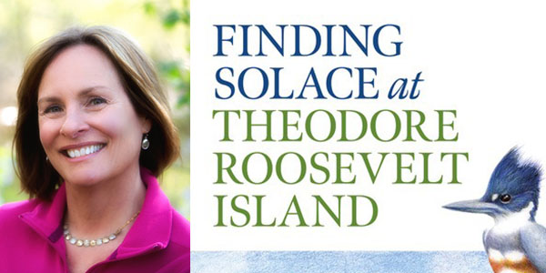"""Melanie Choukas-Bradley with her book """"Finding Solace at Theodore Roosevelt Island"""""""