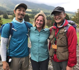 Melanie with forest therapy guides in the Japanese Alps