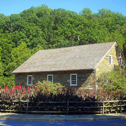Peirce Mill in Rock Creek Park, Washington, D.C. The building is listed on the National Register of Historic Places.